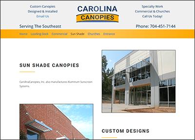 Website design for a canopy manufacturer.
